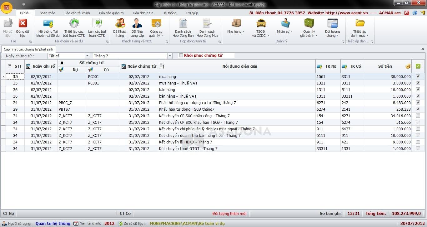 Một màn hình làm việc trong dịch vụ kế toán tại Biên Hòa