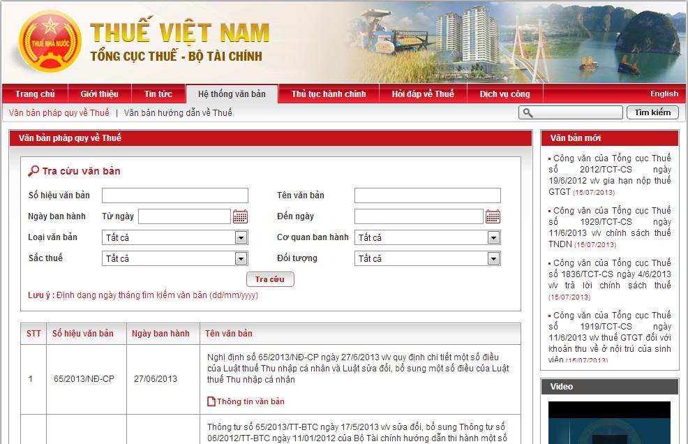 trang web tong cuc thue