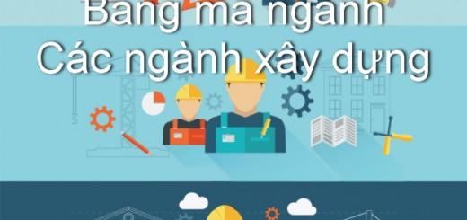 mã ngành các ngành xây dựng