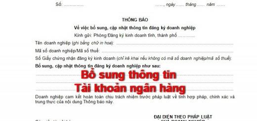 phu luc II-5 bo sung thong tin dang ky doanh nghiep