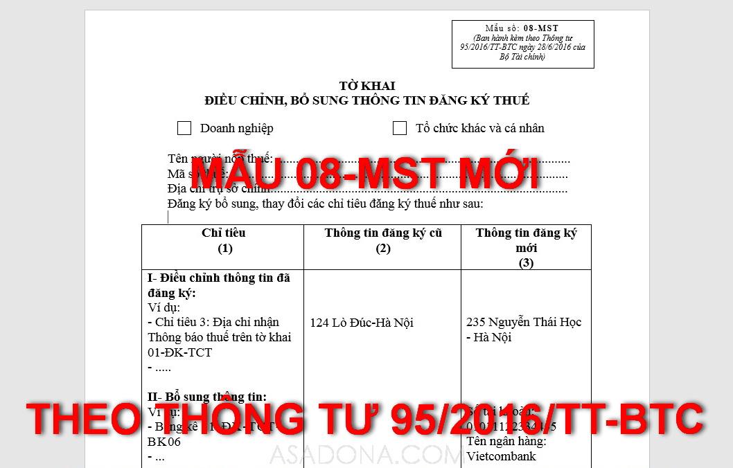 Các chỉ tiêu trên tờ khai điều chỉnh đăng ký thuế Mẫu 08-MST