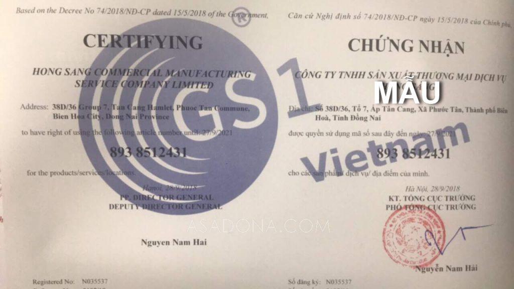 giấy chứng nhận mã vạch