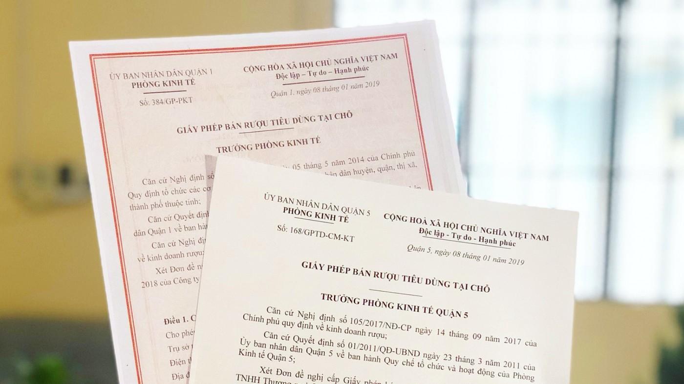 Dich vụ xin giấy phép bán rượu tiêu dùng tại chỗ ở Đồng Nai
