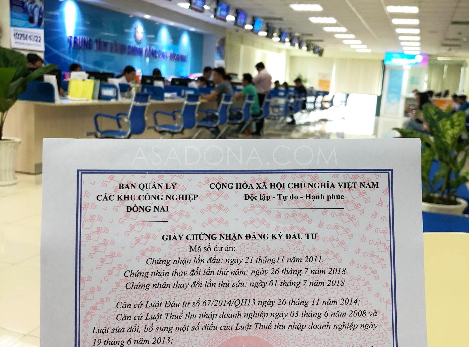 Dịch vụ làm giấy chứng nhận đầu tư tại Đồng Nai